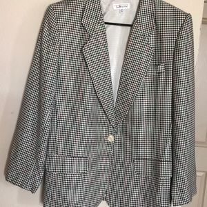 Talbots plaid single button blazer with lining.